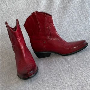 Franco Sarto Red Waco Leather Western Cowboy Boots